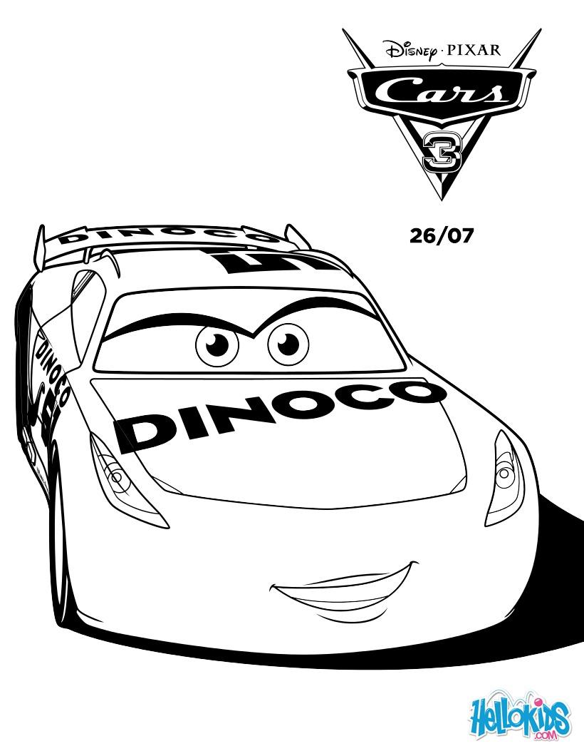 Cars 3 cruz ramirez dinoco coloring pages - Hellokids.com