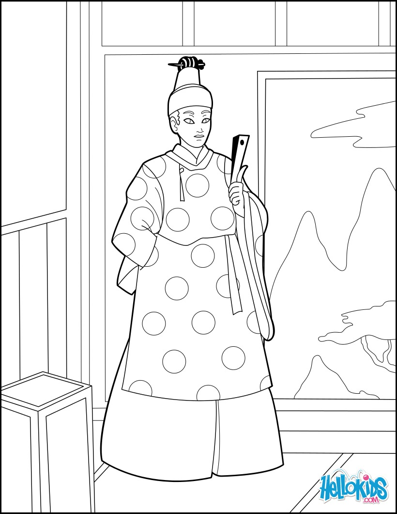 Japanese Princes coloring page
