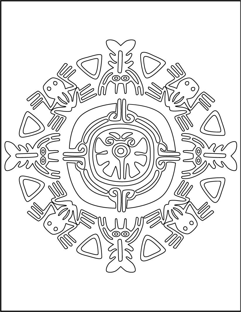 Mandala of Aztek animals worksheet