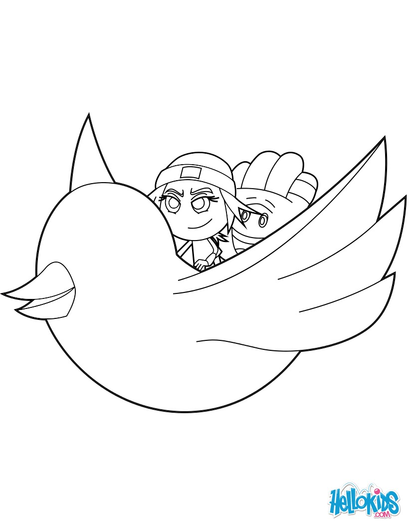 Jailbreak and Hi-5 fly through the air on the Twitter bird coloring page
