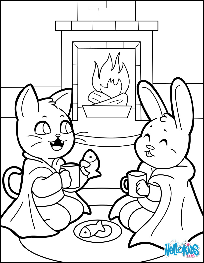 Cat and rabbit drinking hot choco coloring pages   Hellokids.com