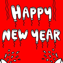 Happy New Year of balloons coloring page