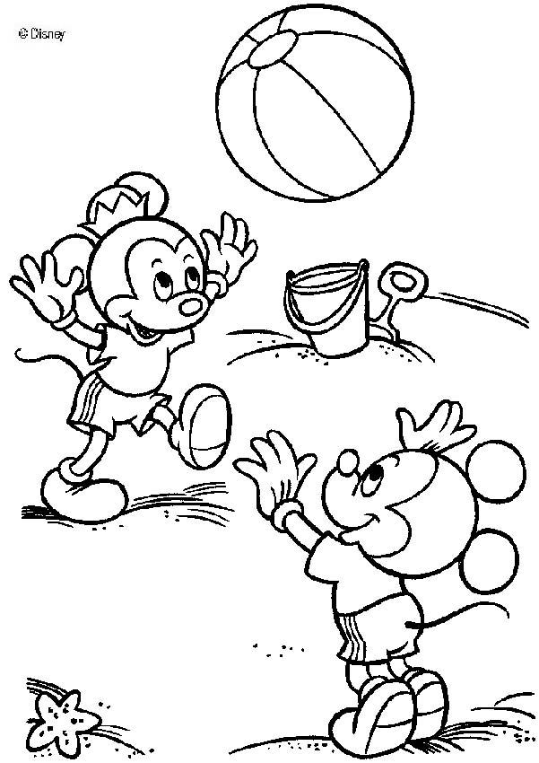 Mickey Mouse's nephews on the beach coloring page
