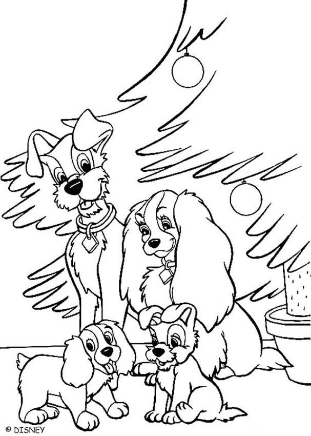 Lady And Tramp Celebrating Christmas Coloring Pages Hellokids Com