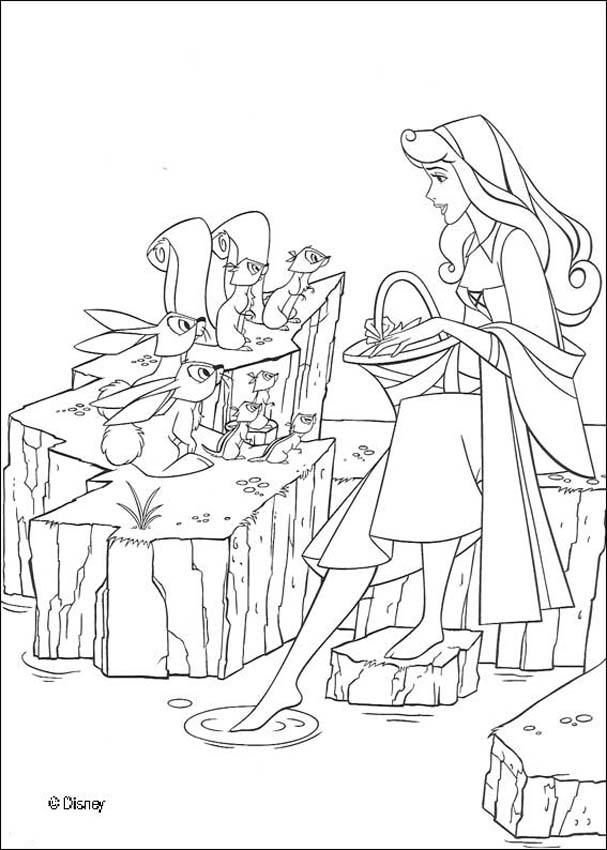 Princess Aurora with friends coloring page