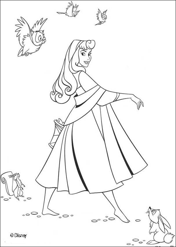 Princess aurora with animals coloring pages for Princess aurora coloring pages free