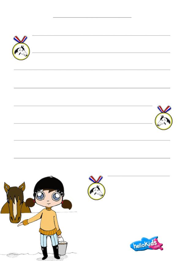 Writing papers - Equitation themed writing paper