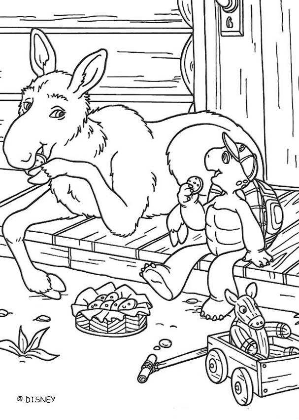 Franklin and donkey coloring page