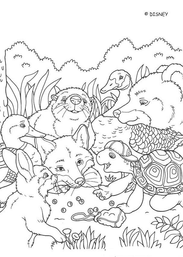 Franklin with his friends coloring page