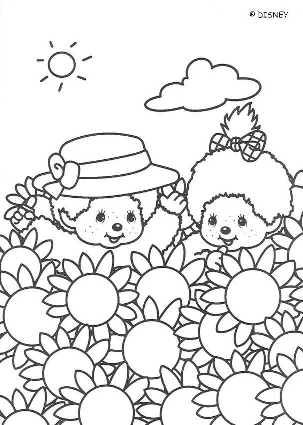 Monchhichi Friends and sunflowers coloring page