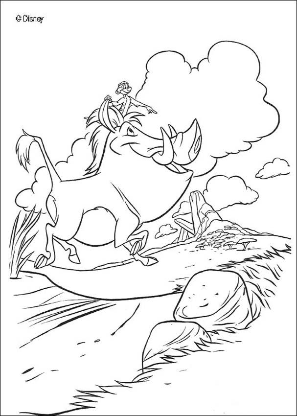 Happy Pumbaa and Timon coloring page