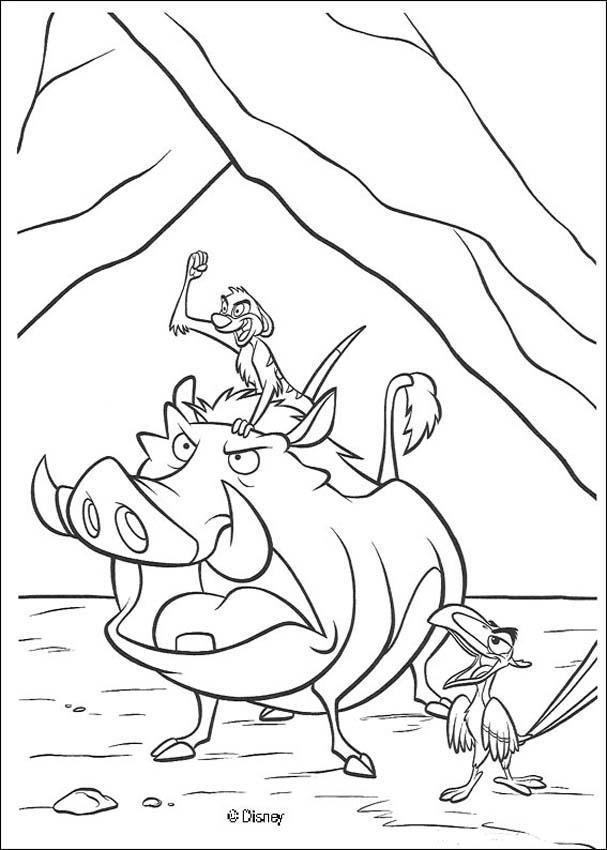 Timon, Pumbaa and Zazu coloring page