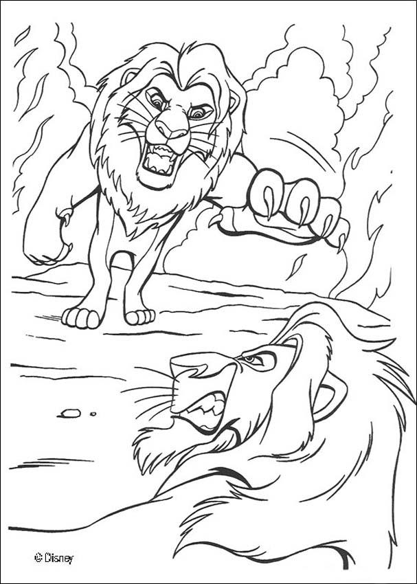 Mufasa fights scar coloring pages - Hellokids.com