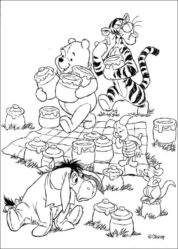 winnie the pooh coloring pages honey pots