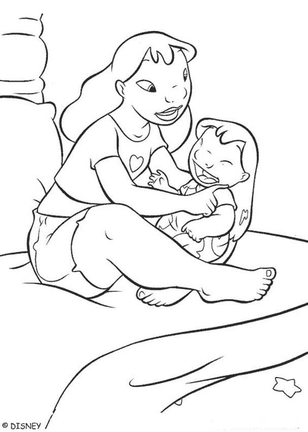 Lilo With Her Sister Coloring Pages Hellokids Com