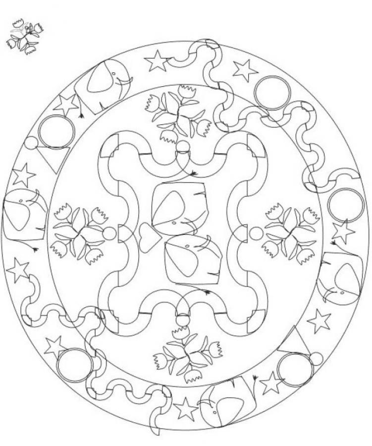Mandala 1 coloring pages - Hellokids.com