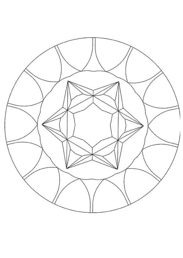 Mandalas for beginners precious stone mandala for Mandala coloring pages for beginners