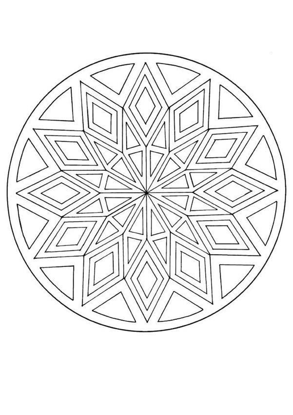 Diamond pattern mandala coloring pages - Hellokids.com