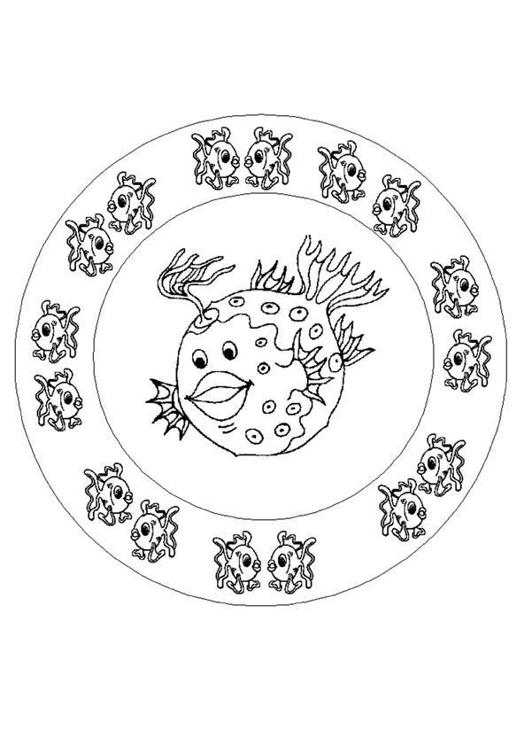 Fish mandala for Mandala coloring pages for beginners