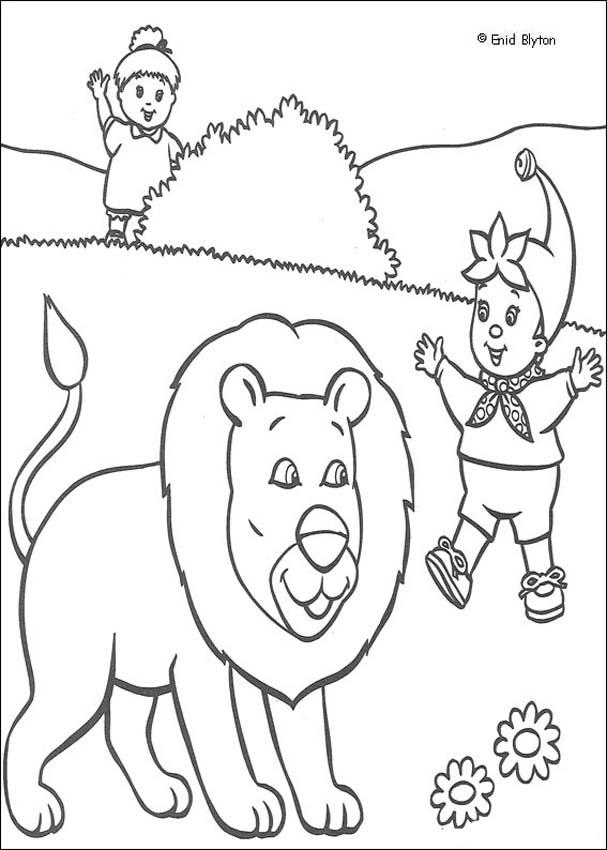 Noddy Scares Away a Lion coloring page