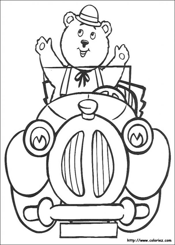 Mr. Tubby Bear Driving coloring page