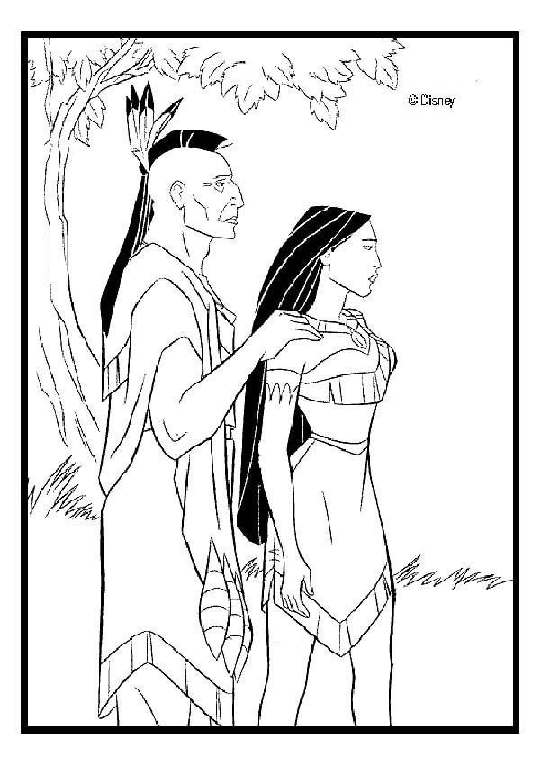 Pocahontas And Chief Powhatan Coloring Pages Hellokids Com