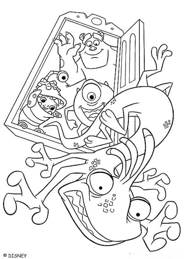 Randall gets kicked out coloring pages - Hellokids.com