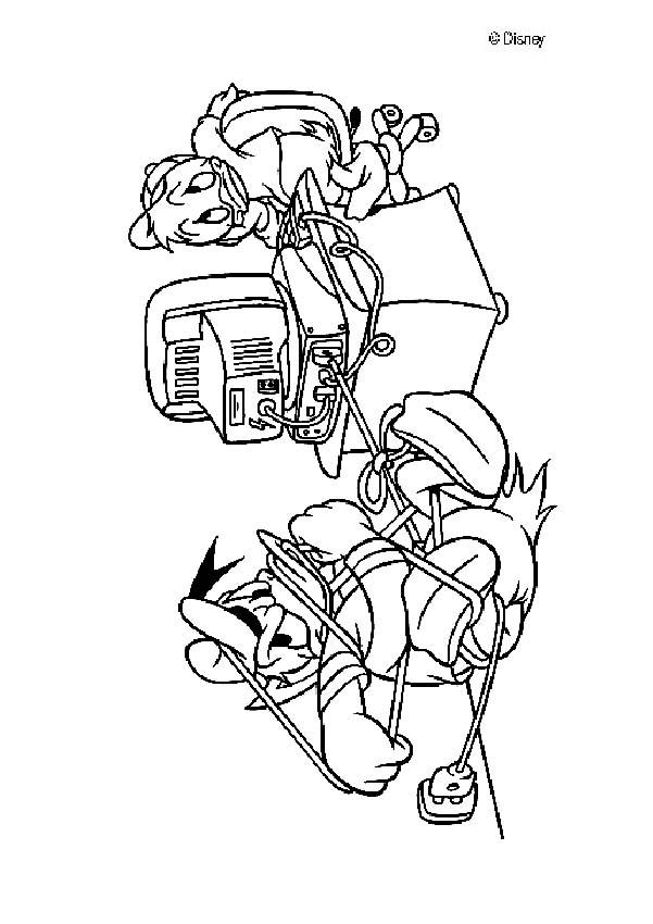 Donald Duck and the computer coloring page