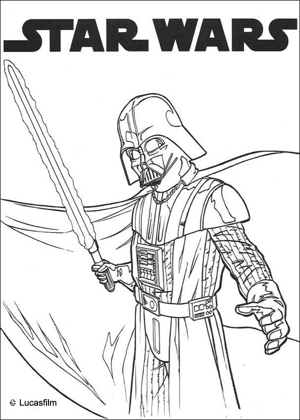 Darth vader and laser sword coloring pages Hellokids