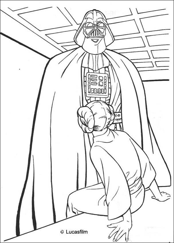 Darth Vader And Princess Leia Coloring Pages Hellokids Com