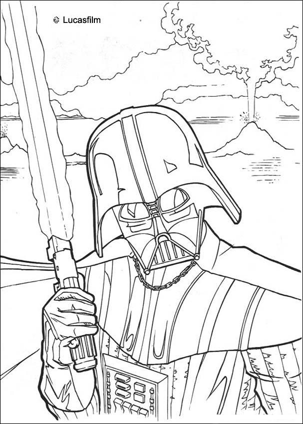 It is a graphic of Peaceful Darth Vader Coloring