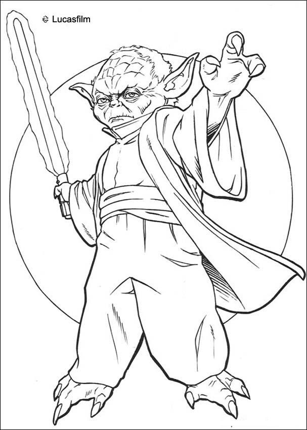 yoda coloring pages for kids | YODA coloring pages - Yoda with a sword