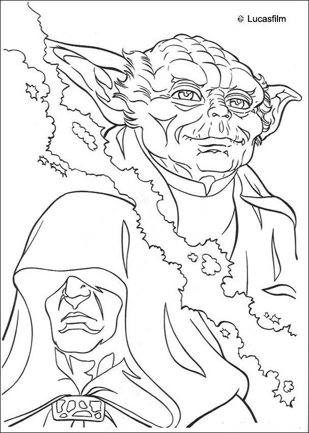 Yoda and Emperor coloring page