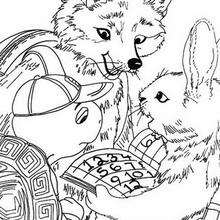 Franklin with Fox and Rabbit coloring page - Coloring page - CHARACTERS coloring pages - CARTOON CHARACTERS Coloring Pages - FRANKLIN coloring pages - FRANKLIN and FOX coloring pages