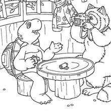 Franklin with fox coloring page - Coloring page - CHARACTERS coloring pages - CARTOON CHARACTERS Coloring Pages - FRANKLIN coloring pages - FRANKLIN and FOX coloring pages