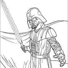 Darth Vader And Laser Sword Coloring Pages Hellokids Com