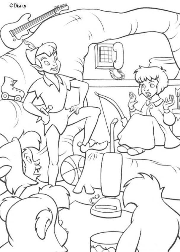 Peter Pan and Wendy coloring pagePeter Pan And Wendy Kiss Coloring Pages