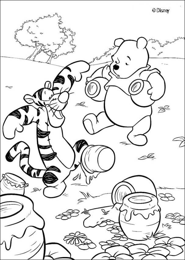 Winnie the Pooh organizes his pots of honey coloring page